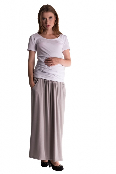 216bb0e22173 Be MaaMaa Maxi dlouhá sukně MAXINA - sv. šedá - Mamitati - od mámy a ...