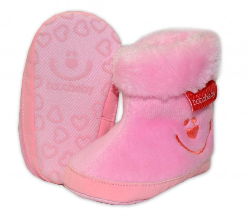 d054ae769af Zimní capačky botičky BOBO BABY s kožíškem - Méďa - sv. růžové - 6 ...