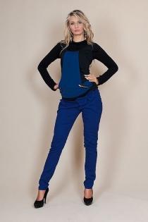 Těhotenské kalhoty s mašlí  - Modré
