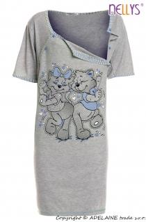 Těhotenská, kojící noční košile Kočky - šedá/modrá
