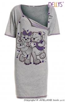 Těhotenská, kojící noční košile Kočky - šedá…