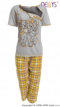 Těhotenské, kojící pyžamo Kočky 2D - šedá/žlutá