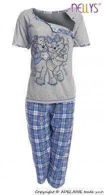 Těhotenské, kojící pyžamo Kočky 2D - šedá/modrá