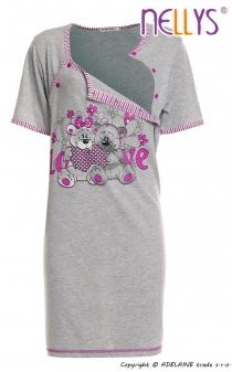Těhotenská, kojící noční košile Medvídci - šedá…