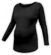 Těhotenské tričko dlouhý rukáv LENKA - černé