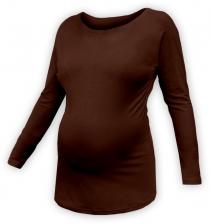 Těhotenské tričko dlouhý rukáv LENKA - čokoládově…
