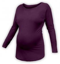 Těhotenské tričko dlouhý rukáv LENKA - švestkové