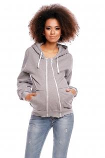 Těhotenská mikina VANDA s kapucí - světle šedá