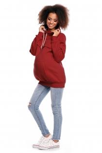 Těhotenská mikina s roláčkem DORA - červená