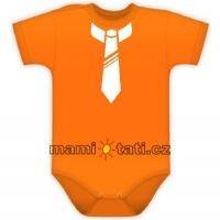 Body kr. rukávek s potiskem kravaty - pomeranč