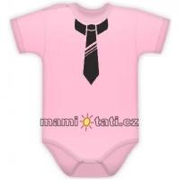 Body kr. rukávek s potiskem kravaty - sv. růžové