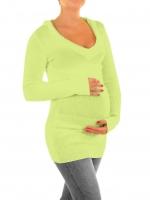 Těhotenský svetřík, tunika s kapucí - sv. zelená