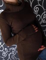 Těhotenská roláková tunika s páskem - hnědá