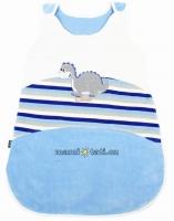 Velurový spací vak  - Dino modrý