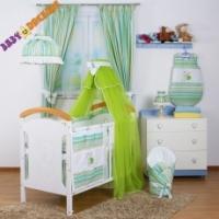 Nebesa lux ŠIFÓN Baby Dreams - Míša Nellys srdíčko, proužky zelené