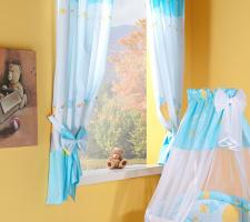 Krásné závěsy do pokojíčku - Šnek modrý