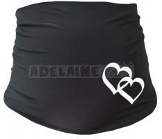 Těhotenský pás se srdíčky - černý