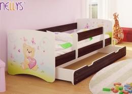 Dětská postel Nellys ® s šuplíkem/ky - Míša srdíčko/tm. hnědá