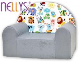 Dětské křesílko/pohovečka Nellys ® - Veselá zvířátka v šedé