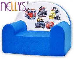 Dětské křesílko/pohovečka Nellys ® - Auta v modré