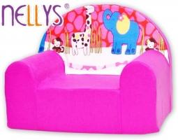Dětské křesílko/pohovečka Nellys ® - Safari v růžové