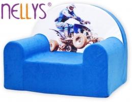 Dětské křesílko/pohovečka Nellys ® - Čtyřkolka v modré