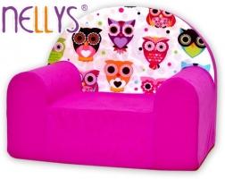 Dětské křesílko/pohovečka Nellys ® - Sovy růžové