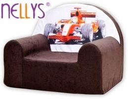 Dětské křesílko/pohovečka Nellys ® - Formule I v hnědé
