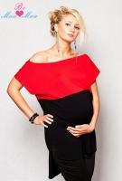 Těhotenské tunika RENÁTA - černá/červená