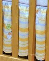 VÝPRODEJ Krásný volánek pod matraci - Kačenky na pruzích oranžových