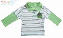 Polo tričko dl.rukáv Ježek - zelený proužek