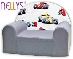 Dětské křesílko/pohovečka Nellys ® - Závody Formulí v šedé