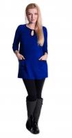 Tunika, šaty 3/4 rukáv - sytě tm.modrá