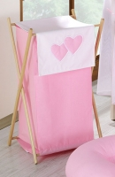 Luxusní praktický koš na prádlo - Srdíčko růžové