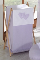 Luxusní praktický koš na prádlo - Srdíčko lila
