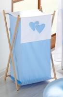 Luxusní praktický koš na prádlo - Srdíčko modré