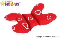Polštářek - MOTÝL stabilizaci hlavičky Srdíčka v červené/bílá