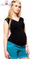 Těhotenské kraťasy BRIA - tyrkysově zelenkavý melírek