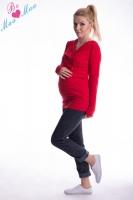 Těhotenská mikina s kapucí OLINA - červená