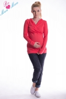 Těhotenská mikina s kapucí OLINA - koral