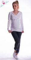 Těhotenská mikina s kapucí OLINA - bílá