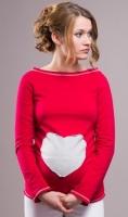 Těhotenské triko halenka SRDCE dl. rukáv - červené 20808bedf70