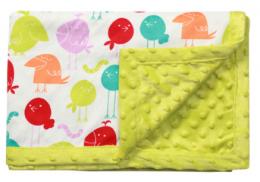 Luxusní oboustranná dečka Baby Ono - MINKY zelená, ptáčci