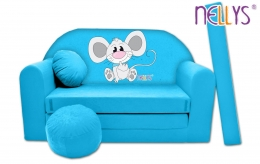 Rozkládací dětská pohovka Nellys ® Myška v modrém