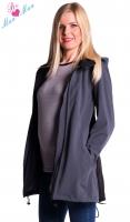 Těhotenská softshellová bunda,kabátek - šedá/grafit