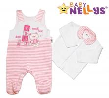 Dupačky a košilka Baby Nellys ® Baby Bear - růžový proužek