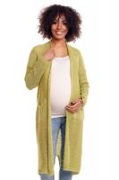 Svetříkový plášť s kapsami MERY - zelenkavý
