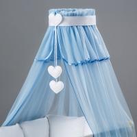 Nebesa šifon - modrý / srdce bílé
