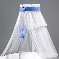 Nebesa šifon - bílá / modré hvězdičky