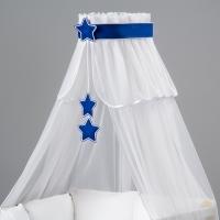 Nebesa šifon - bílá / granatové hvězdičky